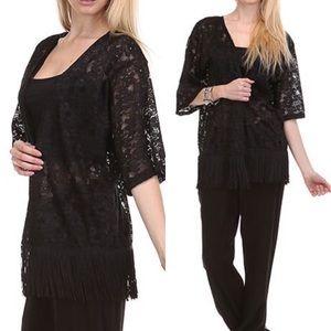 Tops - Black Lace Kimono